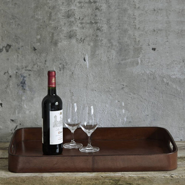 Large Leather Oblong Tray