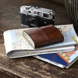 timeless leather hip flask