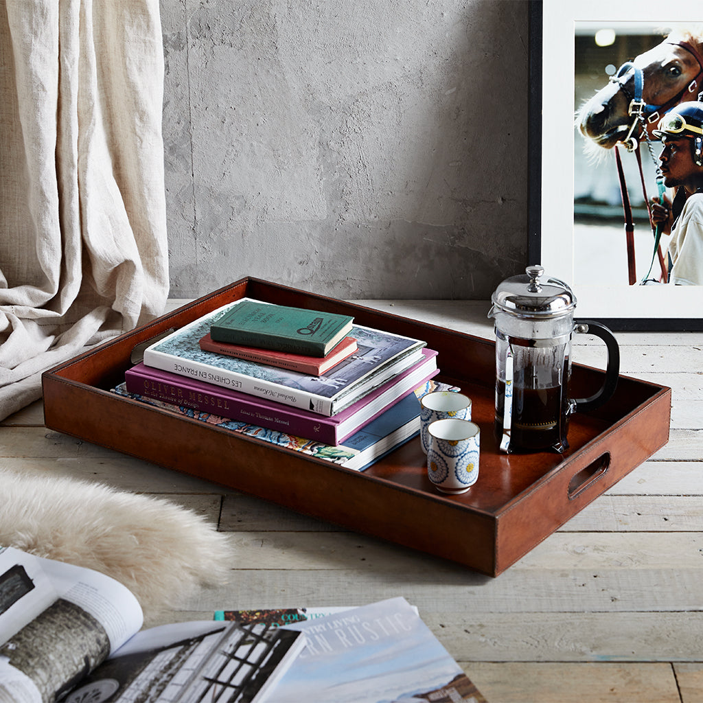 Conker leather ottoman tray