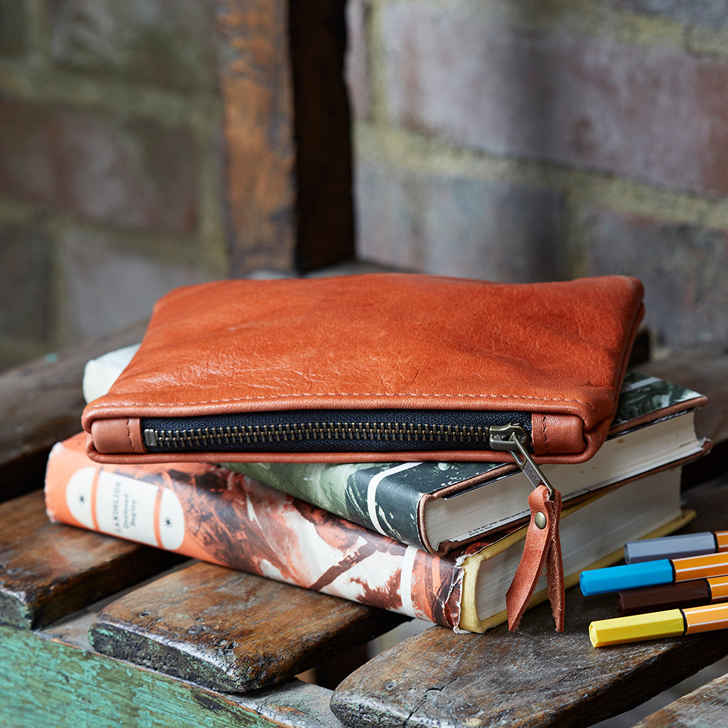 Soft Tan Leather Pencil Case Pouch for iphone 6