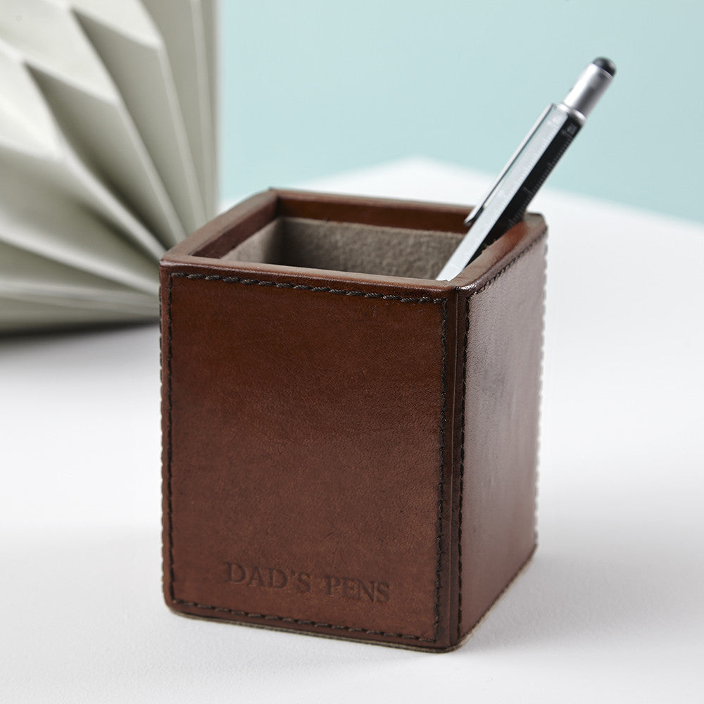 Embossed square leather pen pot