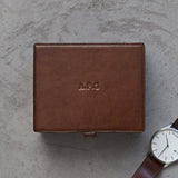 example of personalisation on lid of watch box with chrome clasp