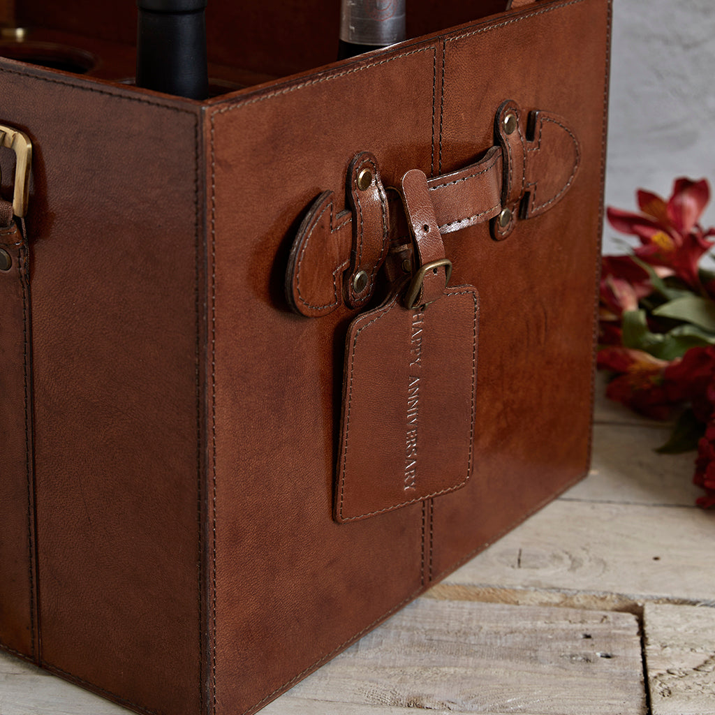 Personalised tag on leather wine trunk