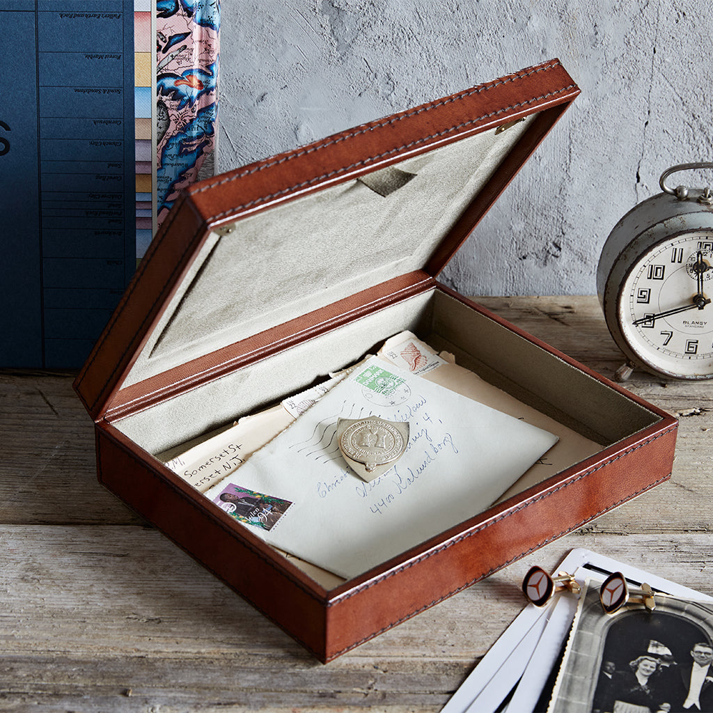 leather photo memorabilia box open