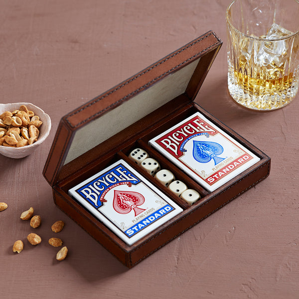 Personalised leather playing card and dice box