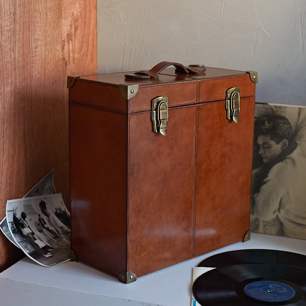 leather record trunk to store vinyls and LP records