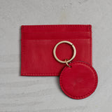 poppy red wallet key ring combination