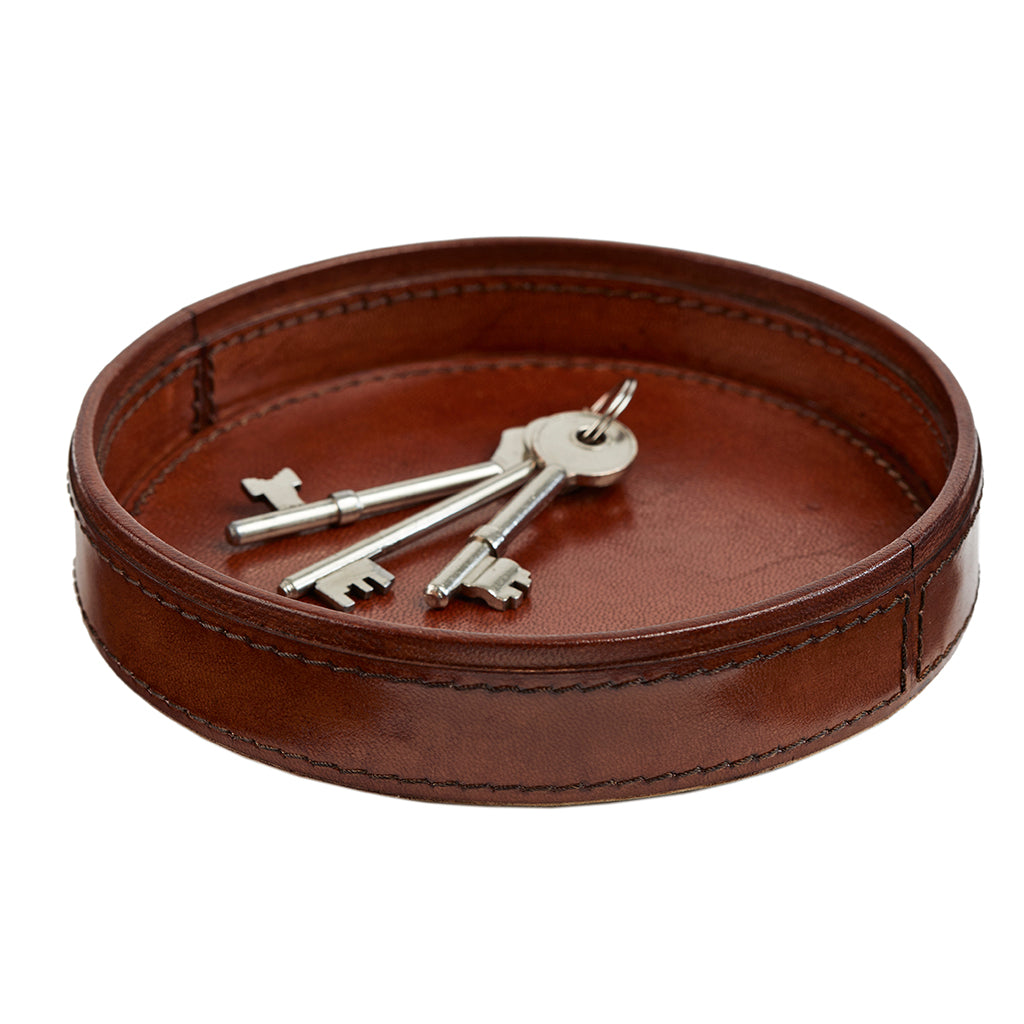 Round leather key tray for dresser