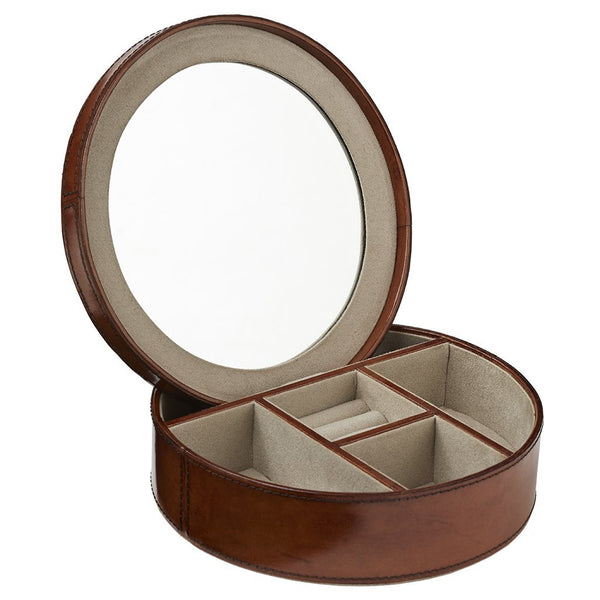 Round leather jewellery box with mirror