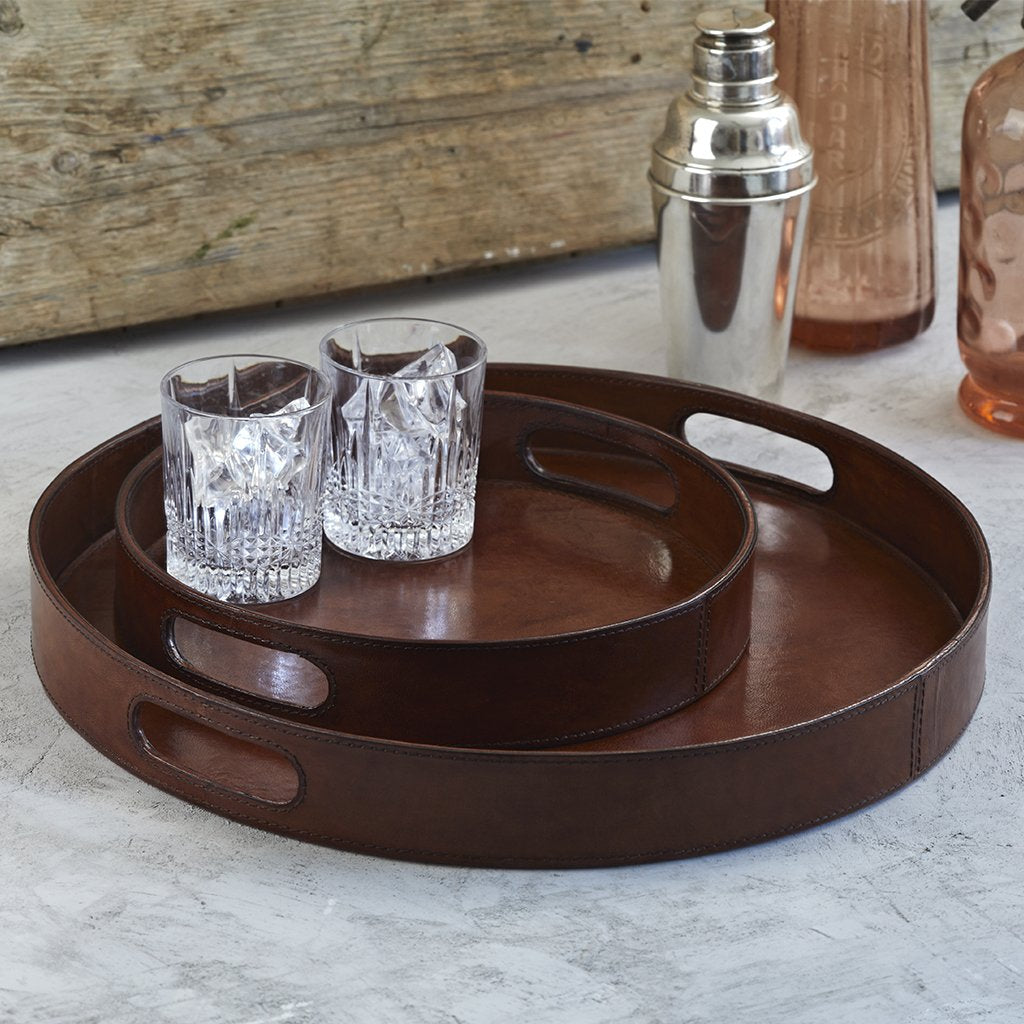 Leather Round serving tray set