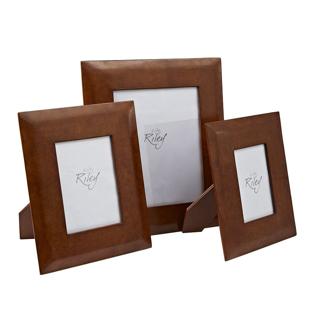 Set of three leather picture frames