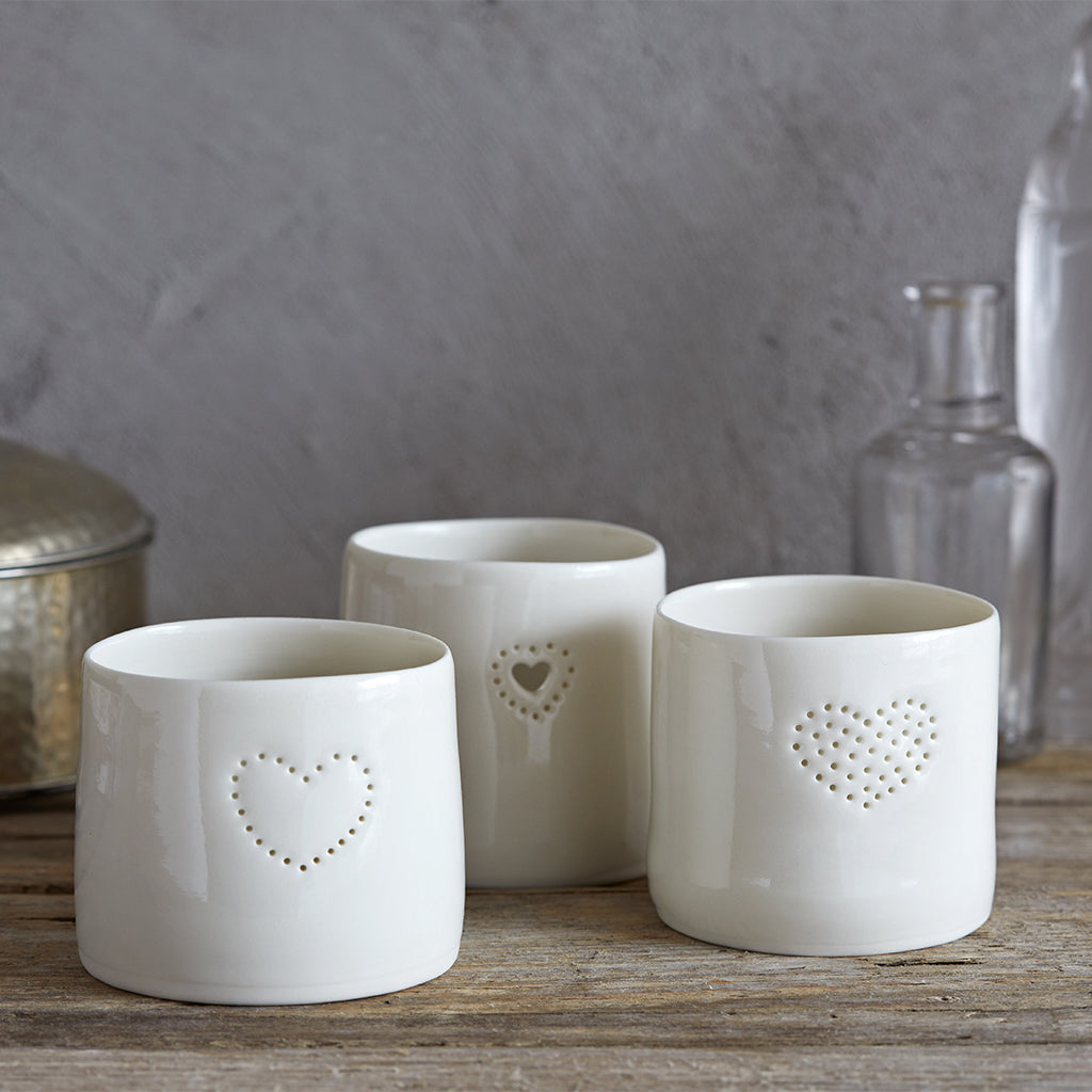 three heart tea light cups
