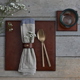 Square leather placemat in conker