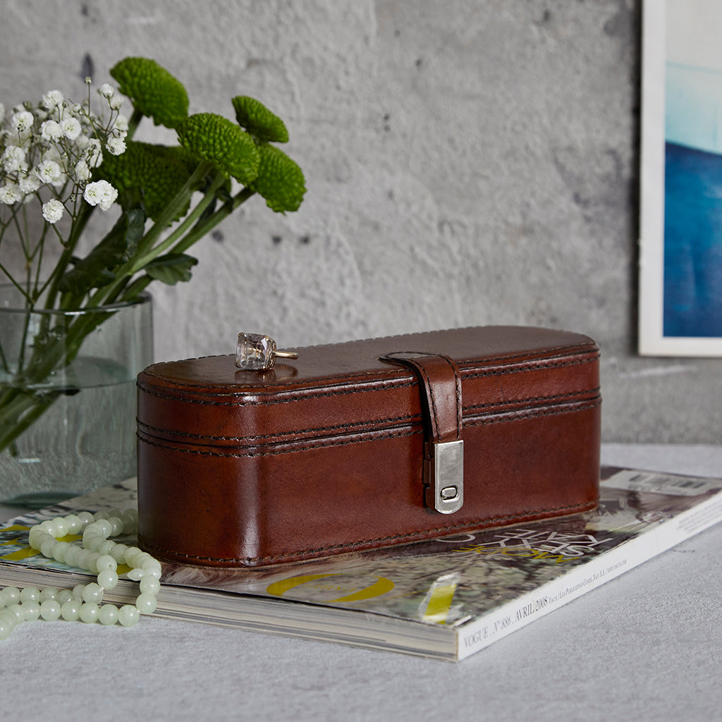 Conker Brown Leather Small Jewellery Box closed