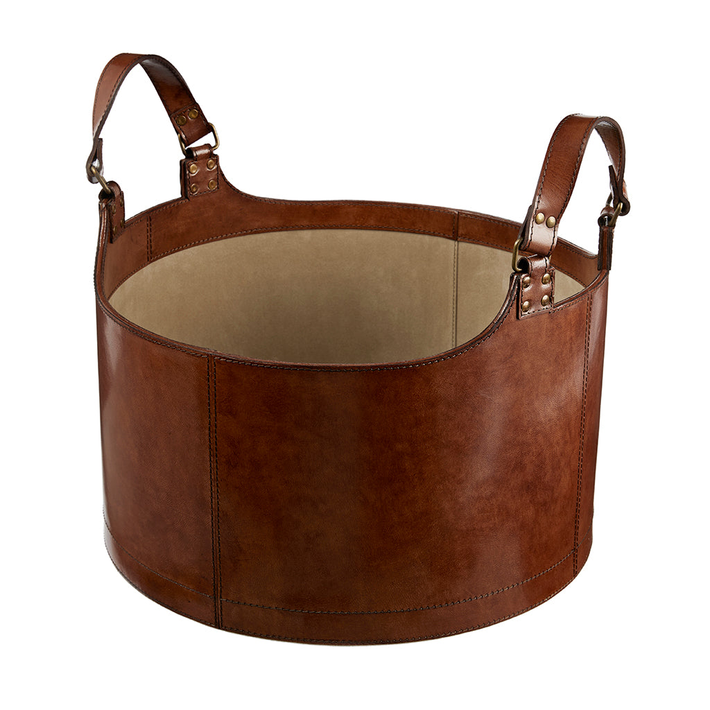 Round Leather Storage Basket