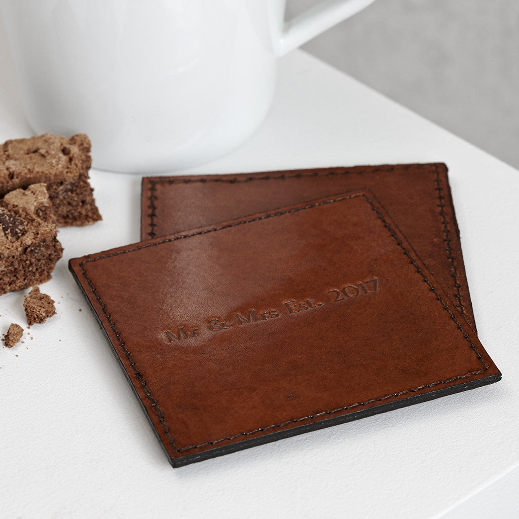 Square leather coaster with Mr and Mrs