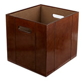 leather square storage box without lid