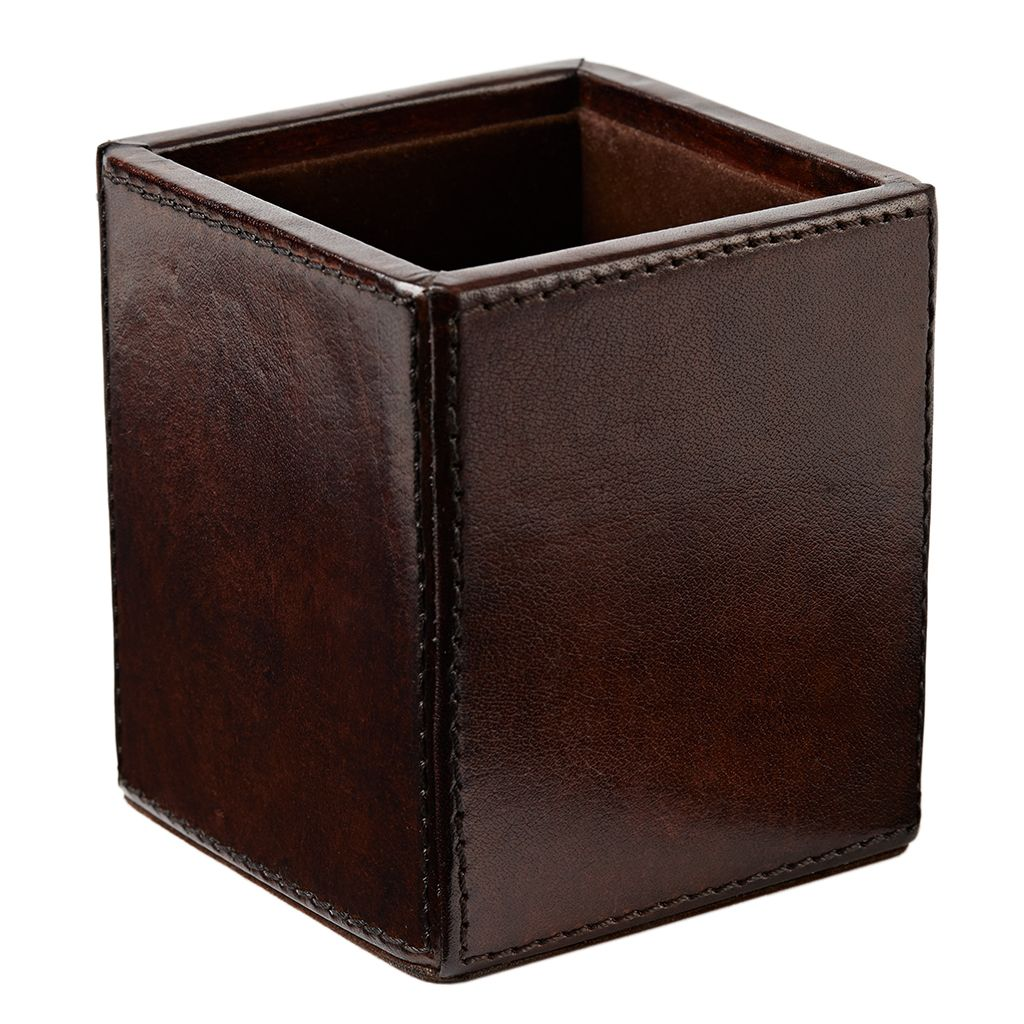 Square Chocolate Brown Leather Pen Pot - Seconds