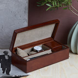 Leather stash box with for two watches and cufflinks