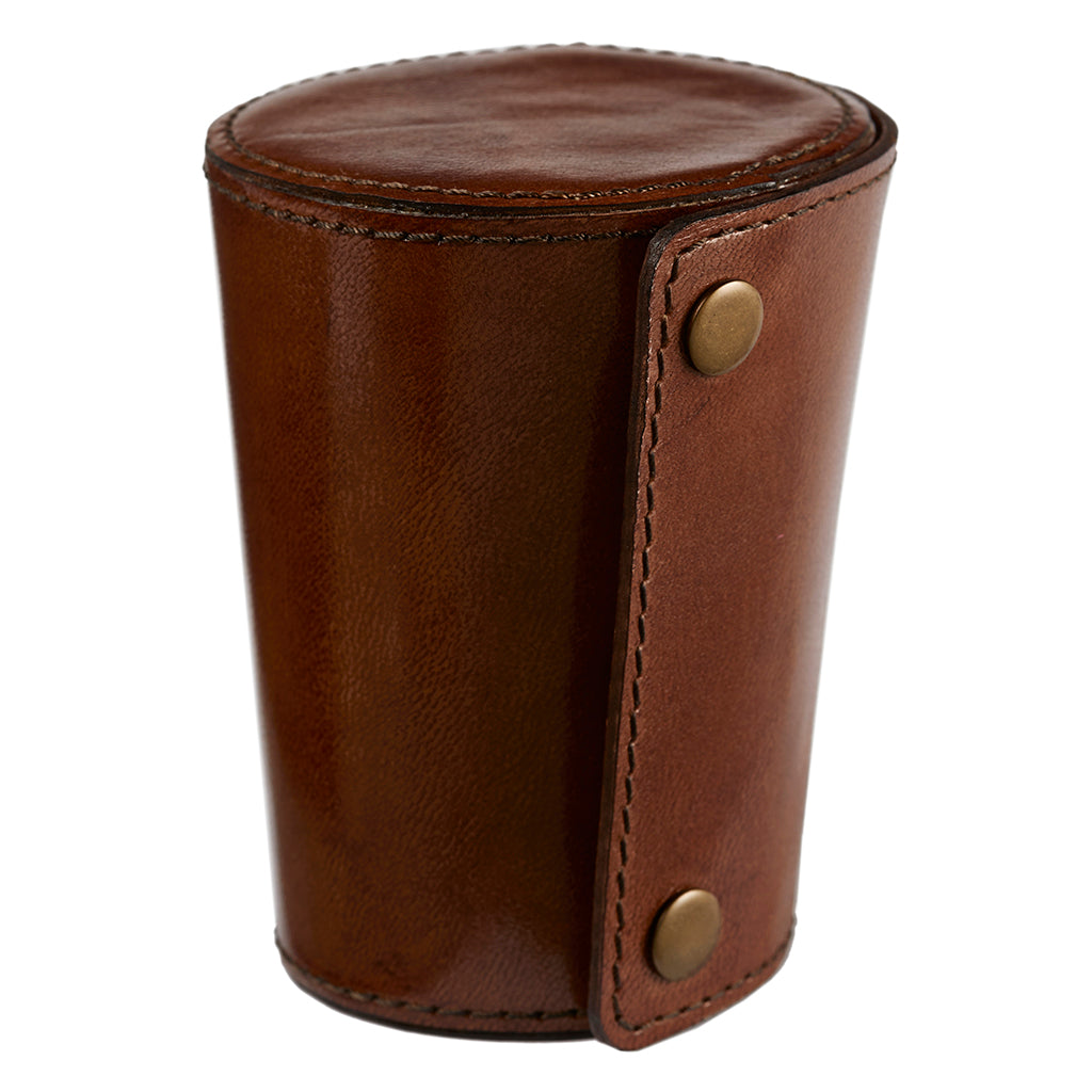 Four Metal Stirrup Cups In Leather Case closed