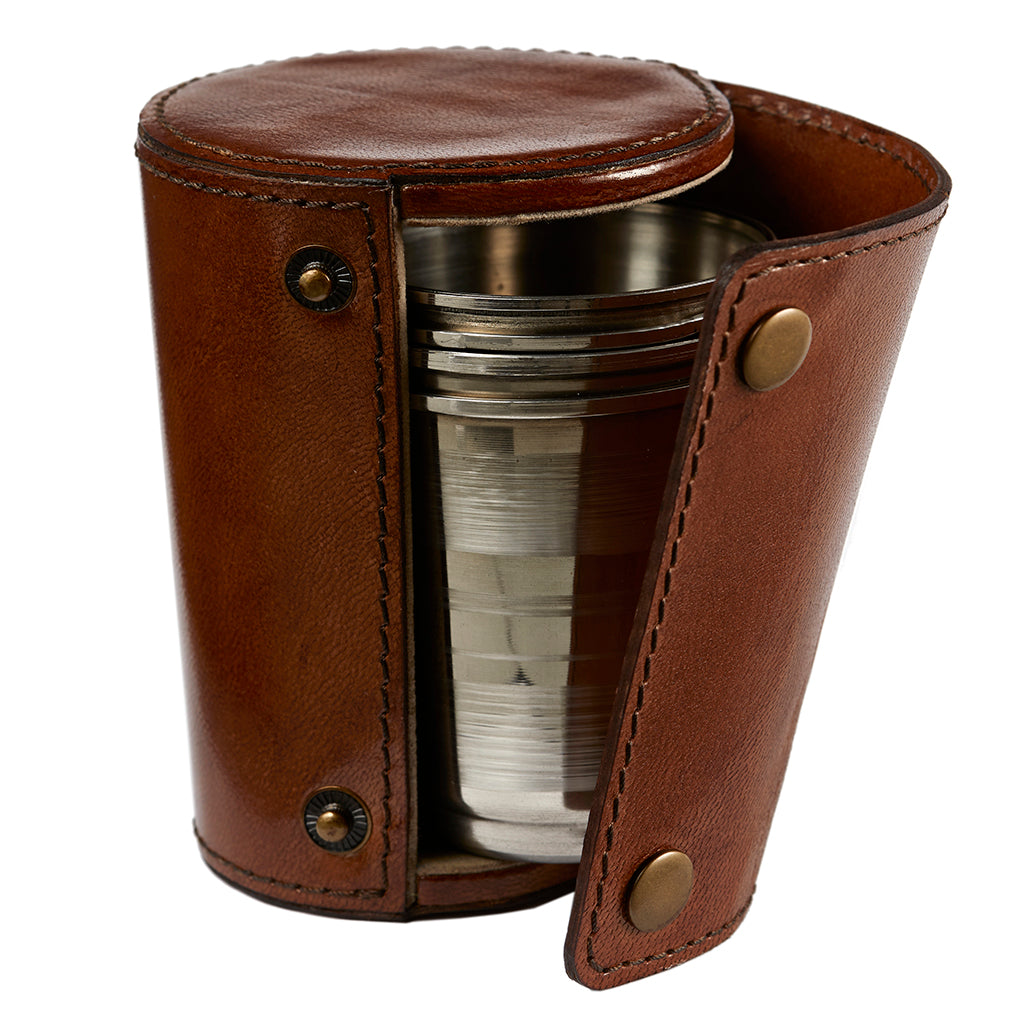 Four Metal Stirrup Cups Inside  Leather Case