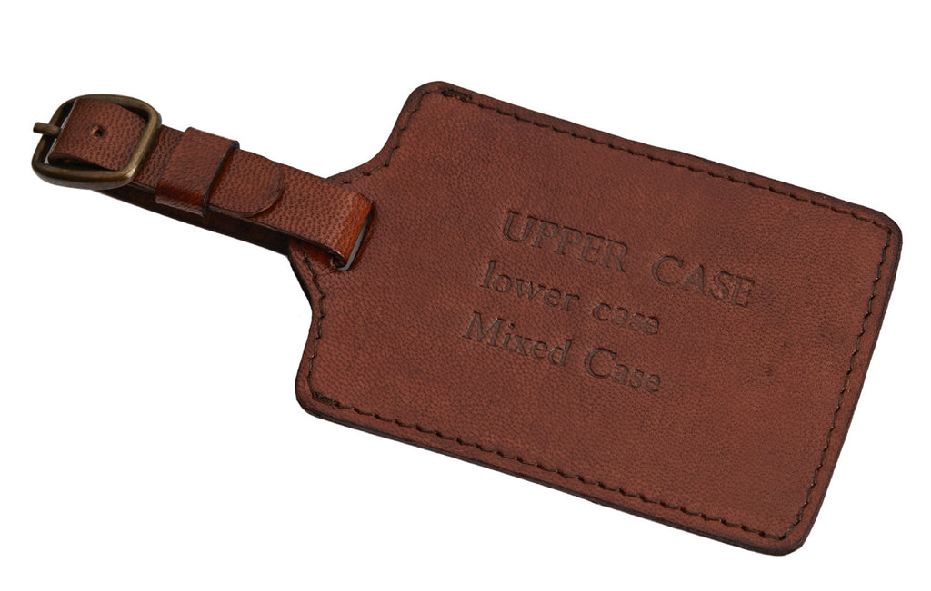 Example of embossing  on luggage tag