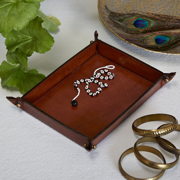 Conker brown leather coin tray
