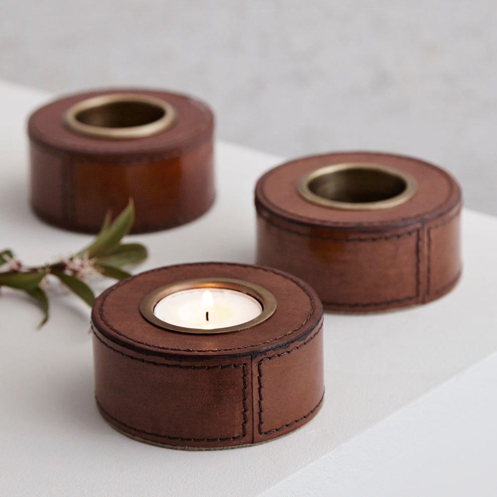 Set Of Three Leather Tealight Holders