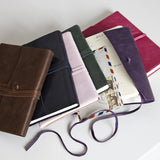 Leather tie journals in mixed colours