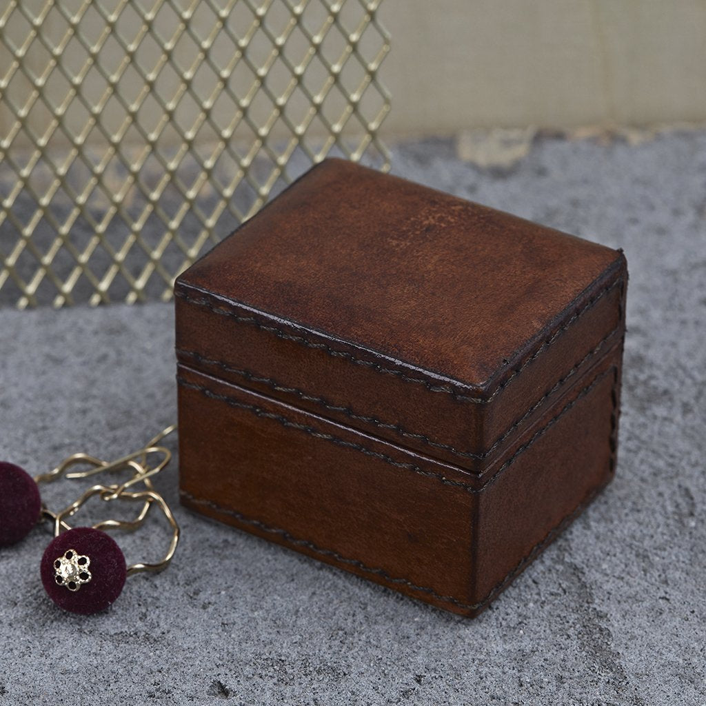 Tiny leather oblong trinket gift box in conker