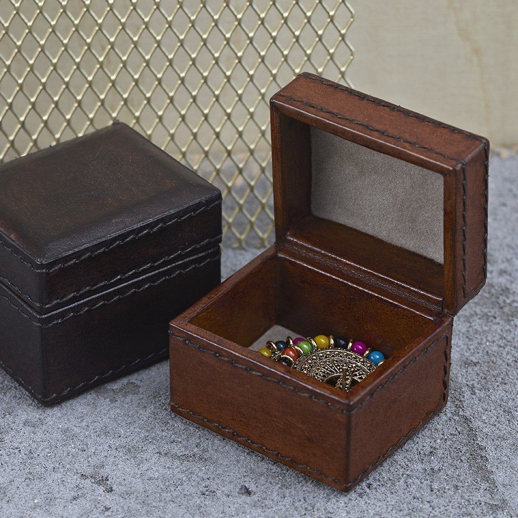 Tiny Oblong Box in conker and dark brown leather