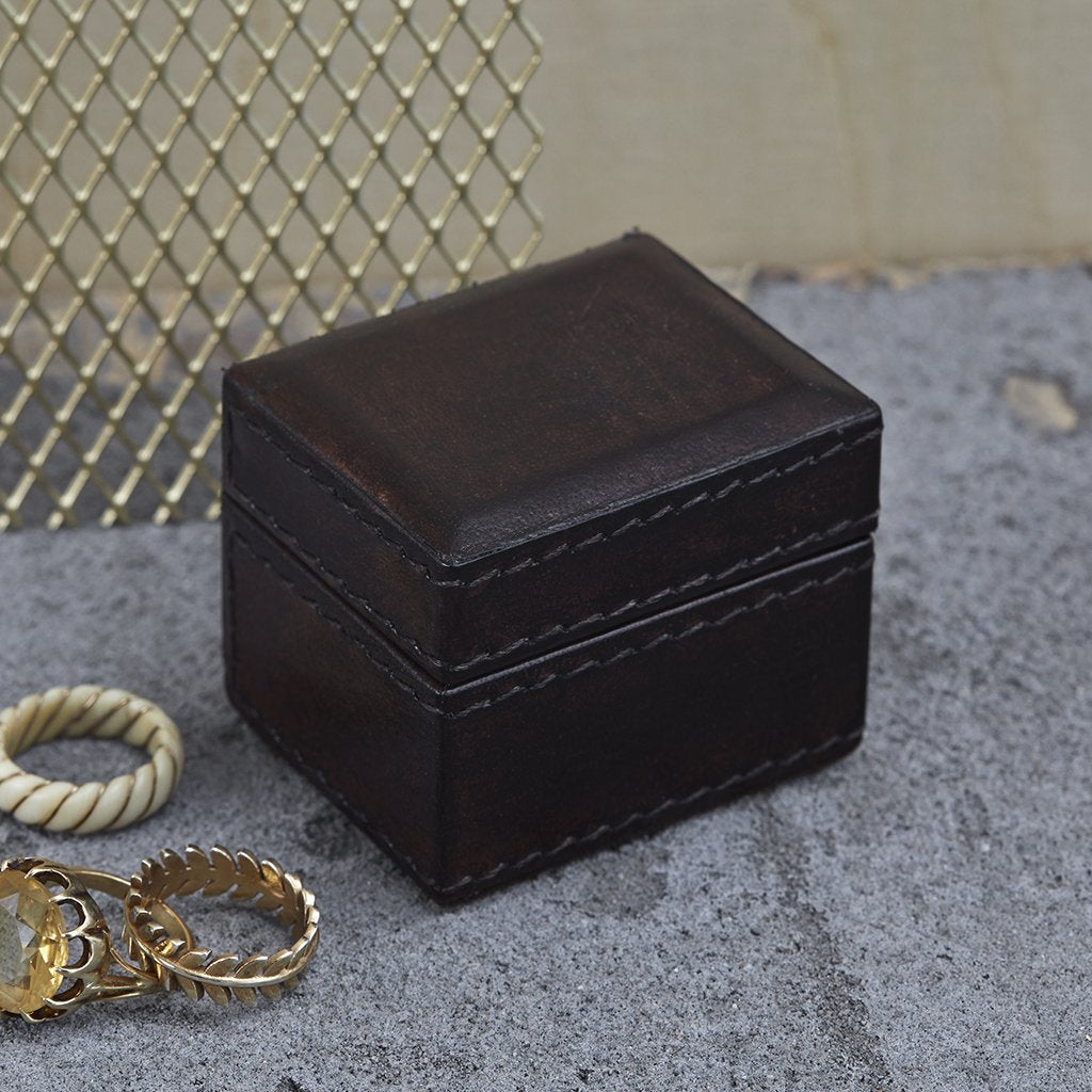 Tiny leather oblong trinket gift box in dark brown