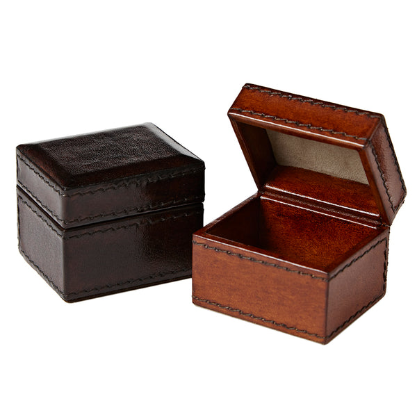 Tiny leather gift box conker brown