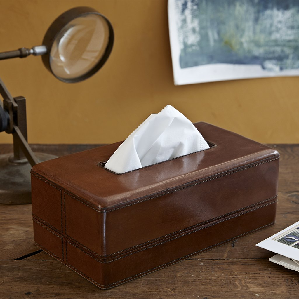Conker leather oblong tissue box