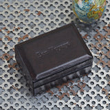 personalised dark brown leather travel cufflink box