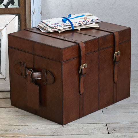 Leather heirloom small trunk