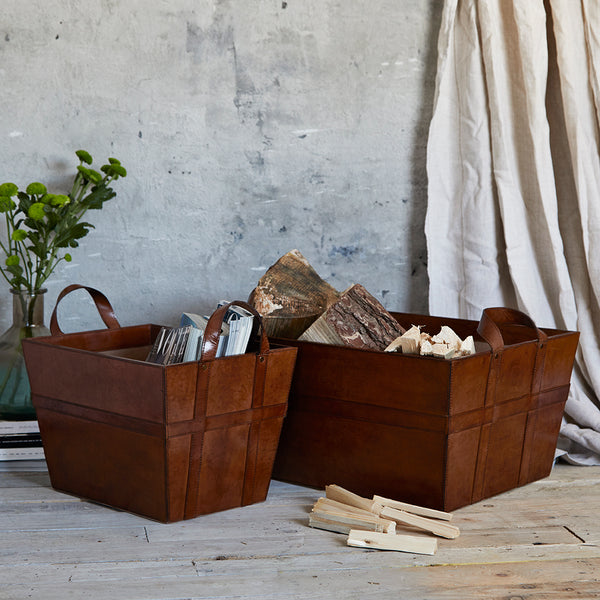 Leather log basket with handles with matching magazine basket