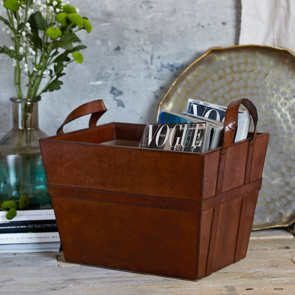 Luxury two handle magazine basket