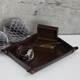 Dark brown valet kit of coin tray and cufflink box