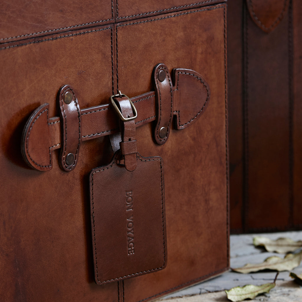 example of personalised luggage tag for leather steamer trunk