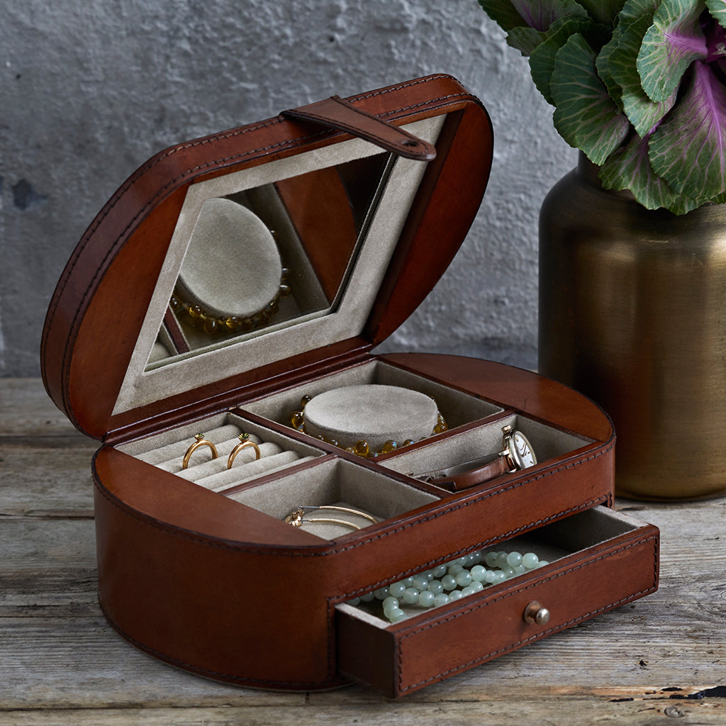 Leather Vintage Style Jewellery Box