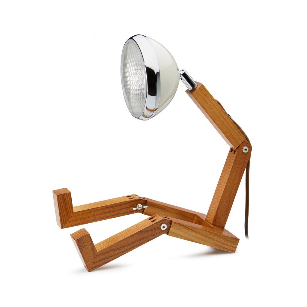 Ash wood body table lamp with headlight lamp head