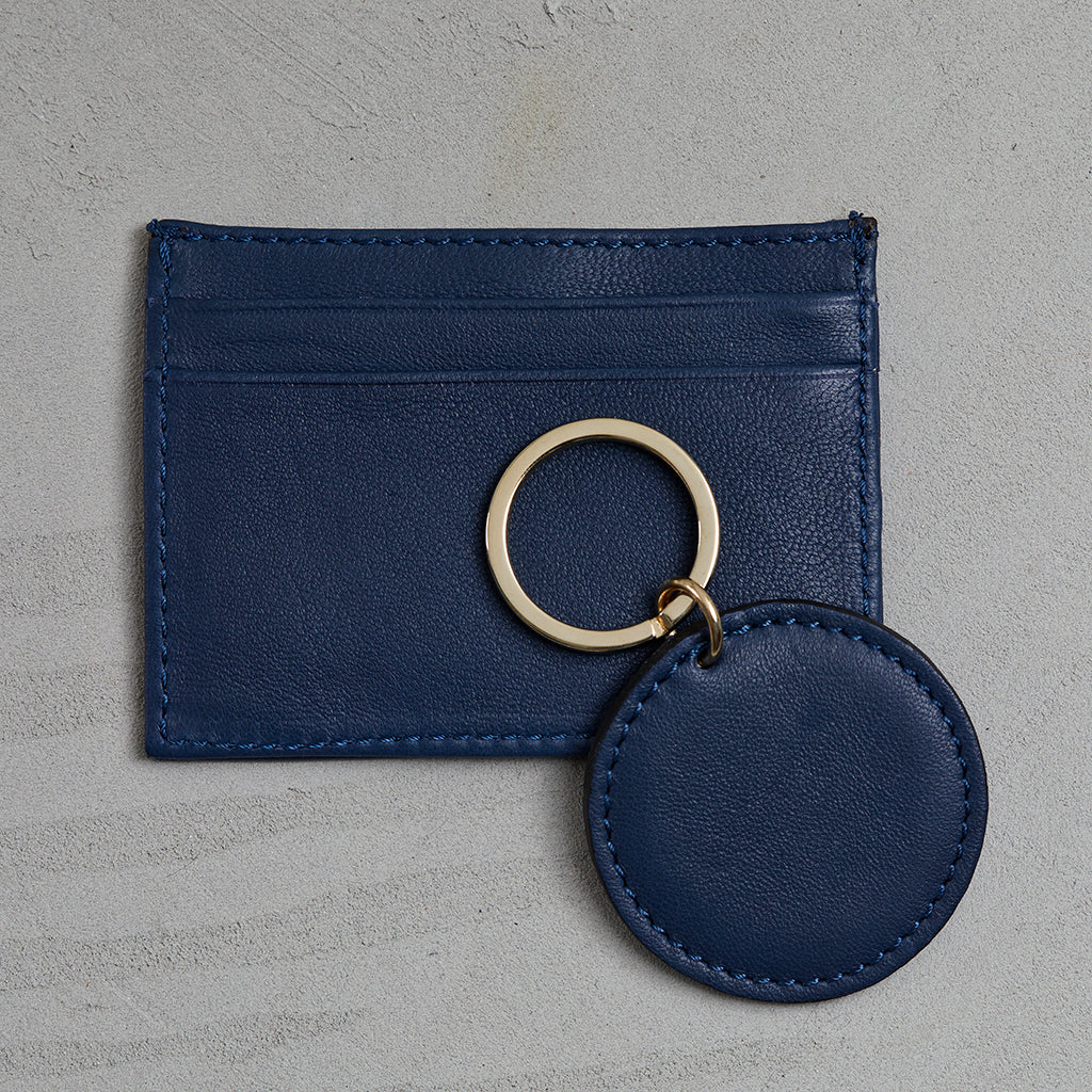 french navy lamb leather wallet and key ring