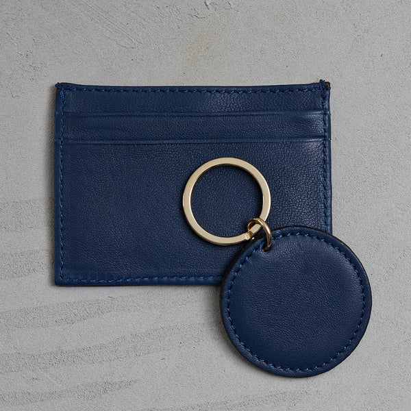 French navy wallet and key ring
