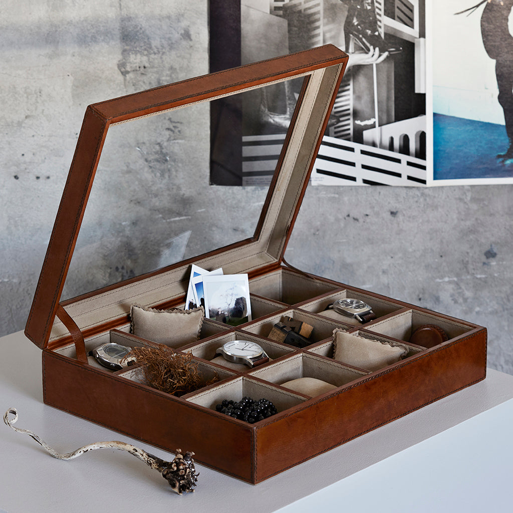 Open leather watch collectors box