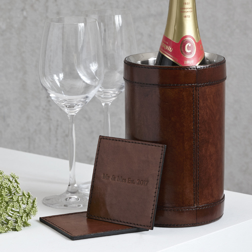 Conker brown leather wine cooler with matching pair of square coasters