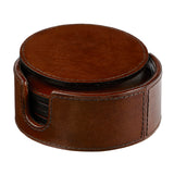 leather wine bottle holder and set of 6 coasters
