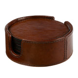 complete set conker brown leather wine bottle holder and 6 coasters