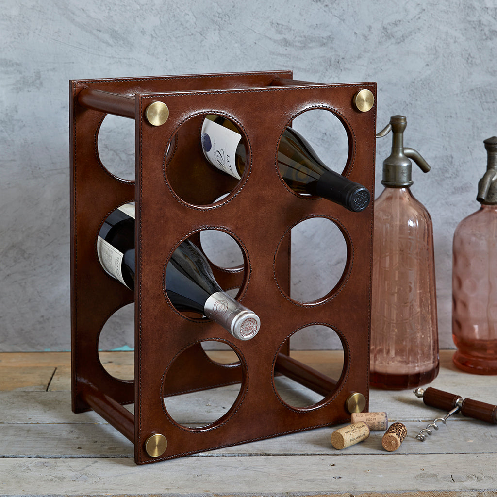 Leather wine rack