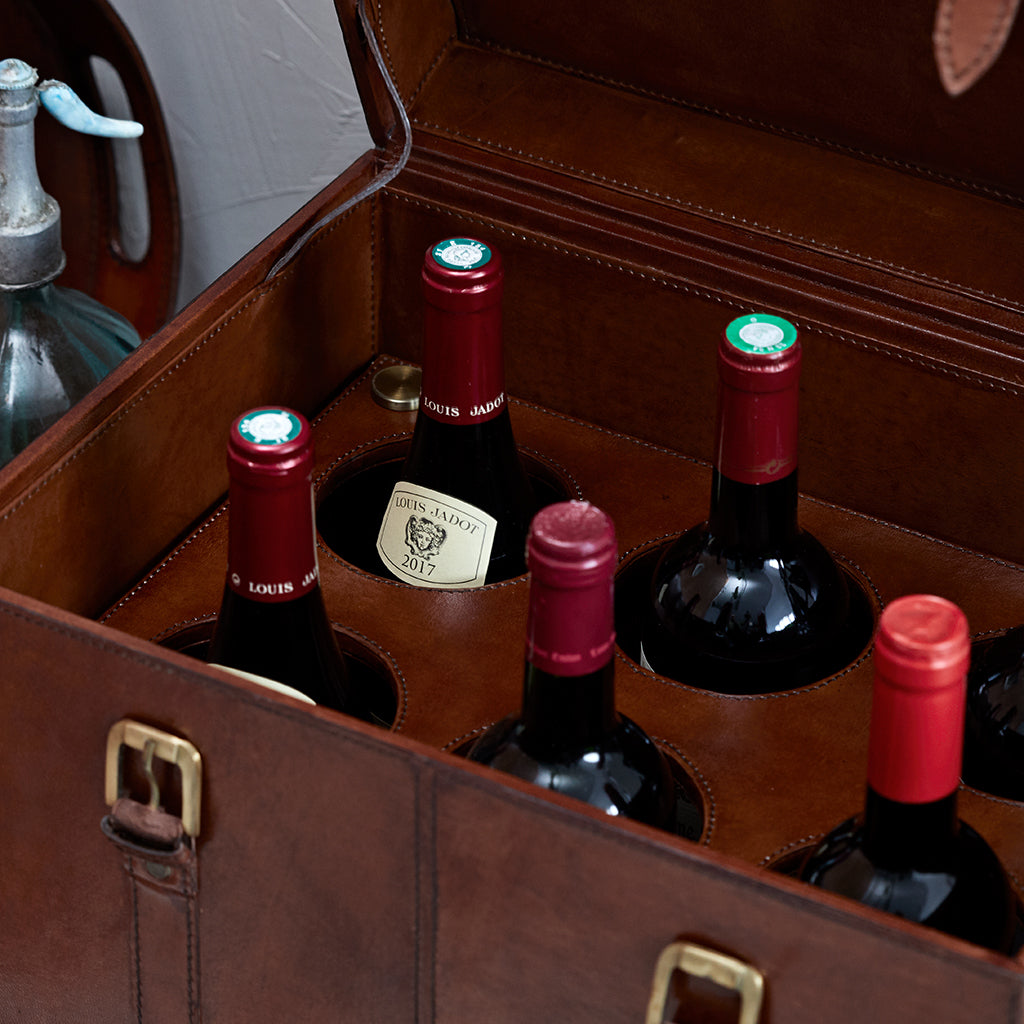 leather wine bottle trunk for 6 bottles